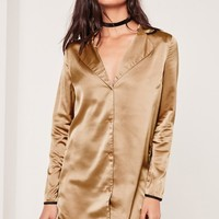 Missguided - Pyjama Shift Dress Nude