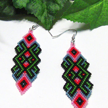 Beaded Dangle Earrings - Abstract Earrings - Womens Earrings - Drop Dangle Earrings - Hand Beaded Earrings - Gifts For Her - Beaded Jewelry