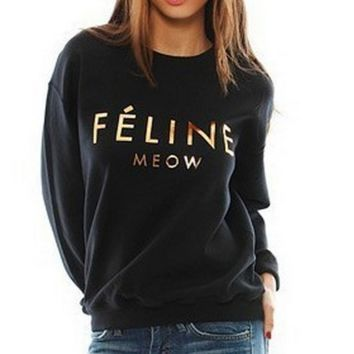 Gold printed letters sweater plus velvet sweater Feline Meow [gold plastic]
