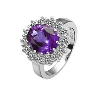 Purple Crystal 18K White Gold Plated Ring Health Jewellery Nickel Free Plating Platinum Austrian Crystal Swarovski Elements, Size Q