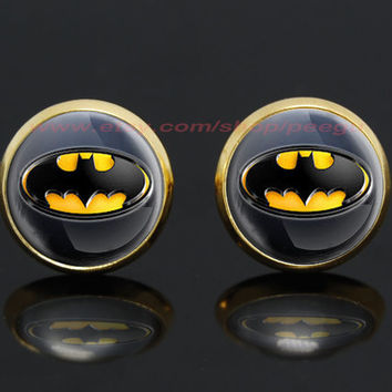 Batman gold plated stud post earrings,superhero earrings,girlfriend gift Bridesmaid Gift