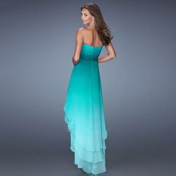 Dark Green Chiffon Prom Dresses