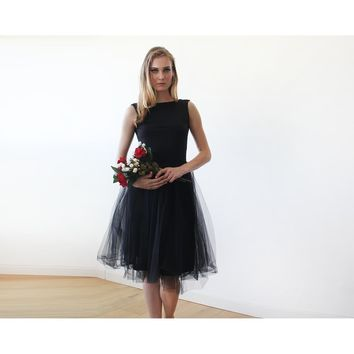 Black Tulle Midi with Open Back, Sleeveless dress 1087