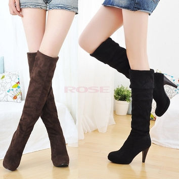 Women Lady Thigh Over Knee Stretchy Shoes Boots High Heel Black Brown 3372 Women's shoes = 1645438980
