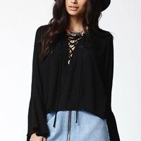 Kendall & Kylie Lace-Up Long Bell Sleeve Top - Womens Shirts