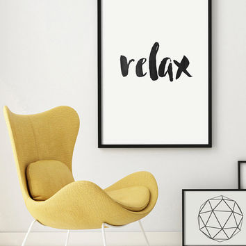 Typography Poster RELAX Quote Letterpress Art Digital Giclee Motivational Caligraphy Grey Watercolor Scripture Print Screenprint  PRINTABLE