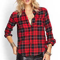 FOREVER 21 Classic Plaid Pocket Shirt Red/Black