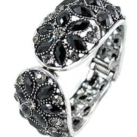 Silver Tone Vintage Hinged Bracelet with Black Crystals 1.4 Inches Wide - Like Love Buy