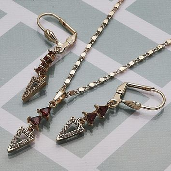 Gold Layered Women Necklace and Earring, with Garnet Cubic Zirconia, by Folks Jewelry