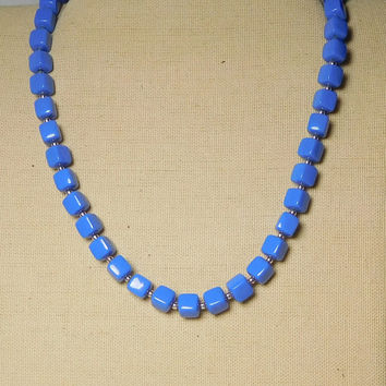 Blue Necklace Persian or Cobalt Blue Square Plastic Beads with Small Gold Tone Filler Beads Vintage Lightweight Jewelry