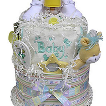Newborn Baby Shower Gift 2 Tiered Neutral Diaper Cake
