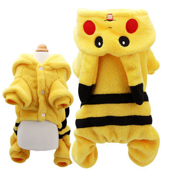 Pokemon Dog Clothes Costume Pet Cat Puppy Coat Pikachu Hoodies Cartoon Winter Coat Jacket Lovely Jumpsuit Gift For Pet DC301