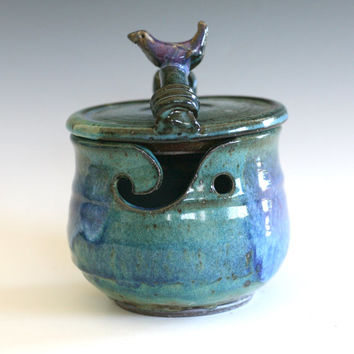 Kitty-Proof Yarn Bowl with a Bird on the Lid, As featured in SIMPLY KNITTING MAGAZINE