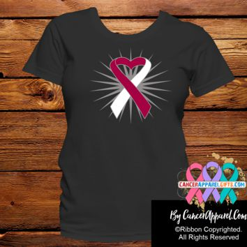 Head and Neck Cancer Heart Ribbon Shirts
