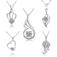 Women's Fashionable Style 925 Sterling Silver Crystal Zircon Pendant Necklace Fashion Lady Jewelry