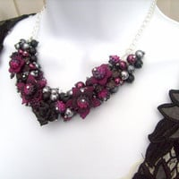 The Black Rose   Pearl Beaded Floral Necklace by Kim by KIMMSMITH