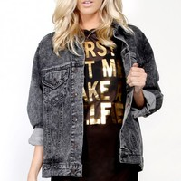 Acid Wash Denim Jacket | MakeMeChic.com