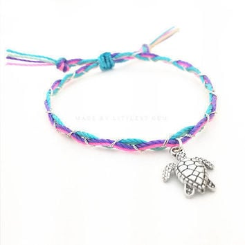 Sea Turtle Friendship Bracelet - Best Friend Gift - Best Friend Bracelet - Gift for Her - Charm Bracelet - Braided Bracelet