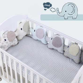6PCS/Set Baby Bed Bumper Cushion Cotton Elephant Infant Crib Bumper Soft Baby Bedding Around protector