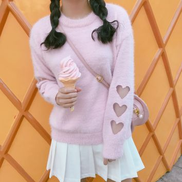 Pink/white sweet mohair sweaters SE10694