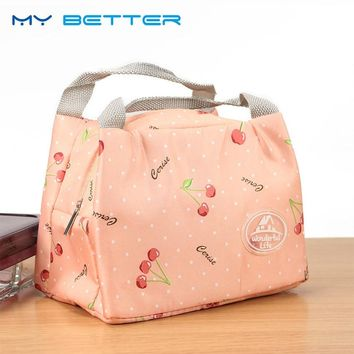 Fashion Cute Portable Insulated Canvas Lunch Bag Thermal Food Travel Picnic Lunch Bags Cooler Lunch Box Tote