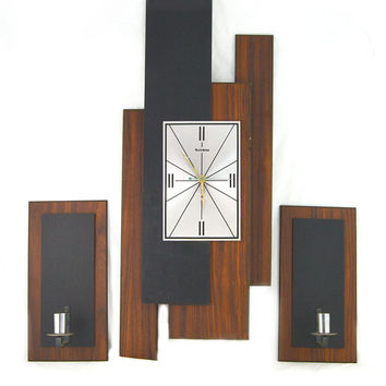 Verichron Vintage Wall Clock & Sconces / Candle Holders - Mid Century, Retro Wall Decor - Works