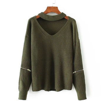 Army Green Choker V Neck Zipper Detail Sweater