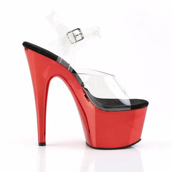 """Adore 708CH Clear Ankle Strap Upper & 7"""" Chrome Platform Heel- Red"""