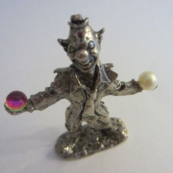Pewter Clown Magician Figure
