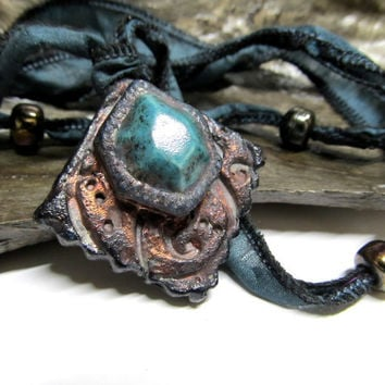 Eco Friendly Sari Silk Beaded Raku Pottery Gem Necklace - Metallic Copper Turquoise, Ceramics and Pottery Western Jewelry