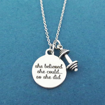 Workout, Inspiration, she believed, she could... so she did, Dumbbell, Silver, Necklace, Motivation, Workout, Hard working, Gift, Jewelry