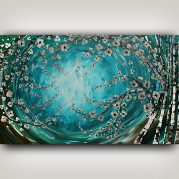 Painting, Turquoise CONTEMPORARY ART Heavy Texture Large Painting on Canvas Abstract Modern Painting Art Sale Fine Art Made-to-Order Nandita