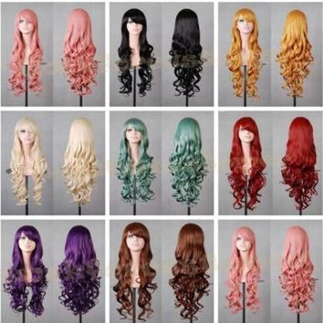 Women New Fashion Women Girl 80cm Wavy Curly Long Hair Full Cosplay Party Sexy