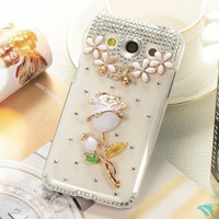 New 2015 full diamond bling diamond PU leather mobile phone case bag for Samsung Galaxy Ace4 G357FZ/G355H/A5 2017/G800/C5