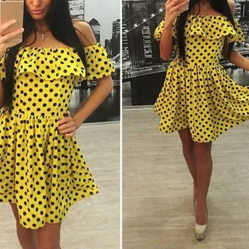 New Women Yellow Polka Dot Print Boat Neck Fashion Mini Dress