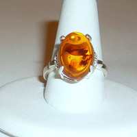 Genuine Baltic Amber Ring Sterling Silver With White Topaz