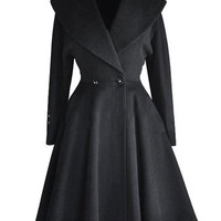 Black Lapel Long Sleeve Cloak Trench Coat with Two Button