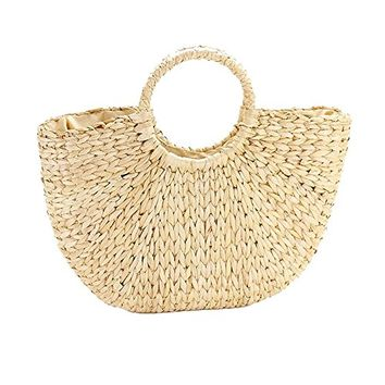 Large Straw Purse Beach Tote Bag 348876