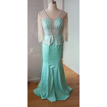 2016 Evening Dresses V Neck Mint Green Satin Long Crystal Pearls Beading Mermaid Peplum Split Prom Gowns Plus Size Formal Dress