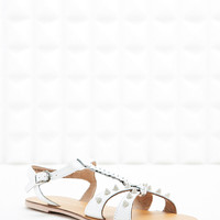 Deena & Ozzy Blaise Studded Sandals in White - Urban Outfitters