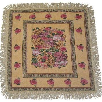 Woven Romantic Parade of Fruit and Roses Floral Beige Tan Square Shaped Tapestry Table Cloth