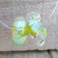 Lampwork Beads, Pastel Autumn Fashion Asymetric pair of Glass Beads, Handmade Supplies for Artisan Lampwork Jewelry
