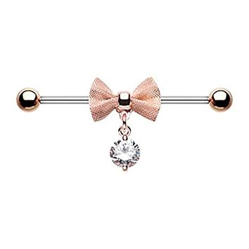 Rose Gold Adorable Mesh Bow-Tie WildKlass Industrial Barbell