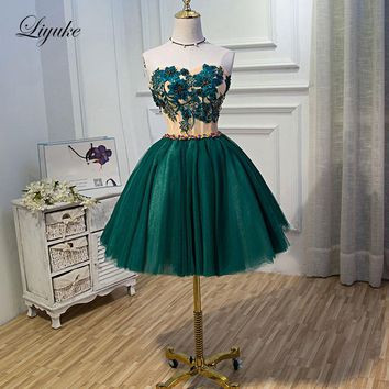 Liyuke Elegant Appliques Dark Blue Prom Dress  A Line Strapless Party Dress Knee-Length Dress With Wine Red Beading