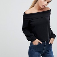 ASOS DESIGN Off Shoulder Sweat With Foldover at asos.com