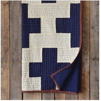 Cross Indigo Blue Kantha Throw