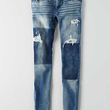 AEO Denim X4 Jegging, Shadow Patched Blues