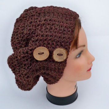 Crocheted Slouchy Beanie - Wool Alpaca Chestnut Hat With Buttons - Women's Baggy Beret Tam - Crochet Accessories - Fall / Winter Fashion