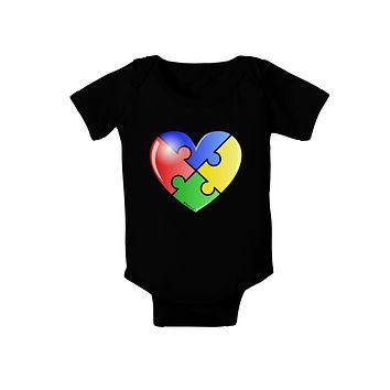 Big Puzzle Heart - Autism Awareness Baby Bodysuit Dark by TooLoud