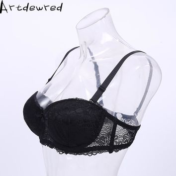 Size 34 36 38 ABC Cup Bra half a cup of hot sell 2017 non-trace picture taken thickening gathered a strapless bra Push Up